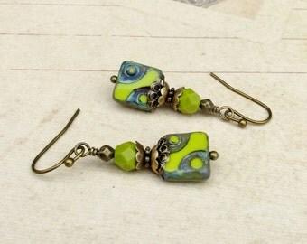Green Earrings, Lime Green Earrings, Olive Green Earrings, Victorian Earrings, Antique Gold Earrings, Czech Glass Beads, Unique Earrings