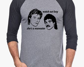 Hall and Oates Maneater mens t-shirt baseball tee shirt 80s watch out boy