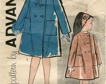 1960s Advance 9541 Girls Coat Vintage Sewing Pattern Size 10 B 28
