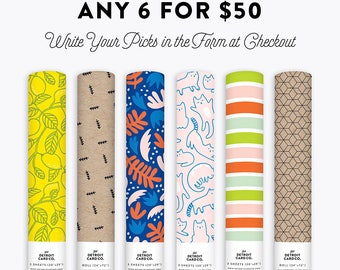 Pick Any 6 Wrapping Paper Rolls for 50 Dollars