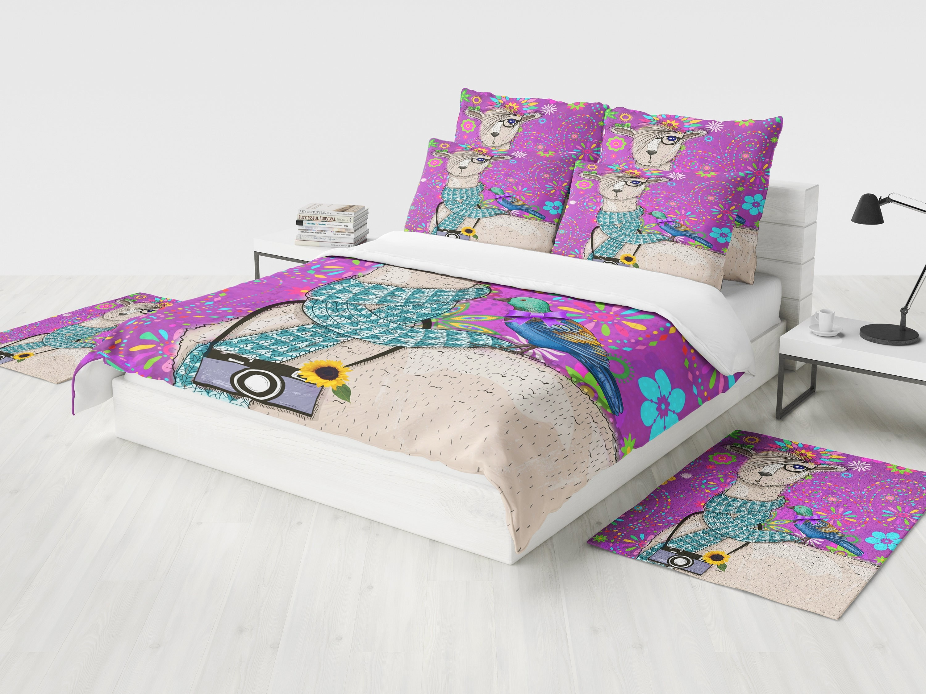 hipster llama bedding purple floral bird duvet cover or