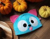 Happy kitty cat Fairytail inspired anime cosplay fleece hat, neko cosplay costume, blue cute kawaii kitten costume, gift for nerd,geek