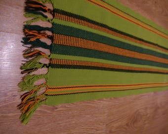 Vintage Green Yellow Peruvian Table Runner Table linen Woven Serape Table Striped linen tablecloth Ethnic etno Tapestry Peruvian Wool Peru