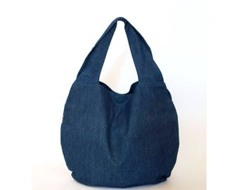 Blue hobo bag, Tote bag for women - Denim & cotton shoulder bag with pockets, Jeans market bag, Blue handbag, Teacher bag, Large bag for her