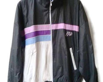 Vintage 80s90s WINDBREAKER  Black Multicolor 1980s VINTAGE Windbreaker Colorblock jacket  ZipUp  Jacket