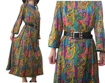 1970s 60s psychedelic Floral KAFTAN Bell sleeves DRESS //size eu 44 - uk 14 - us 10