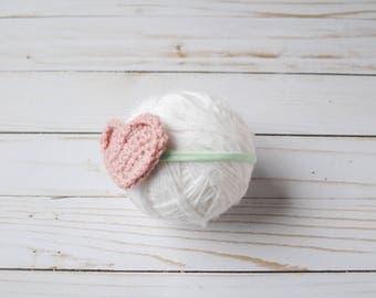 Valentine's Day Headband, Baby Heart Headband, Baby Headband, Newborn Gift, Crochet Headband, Nylon Headbands, Pink Headband, Heart Headband