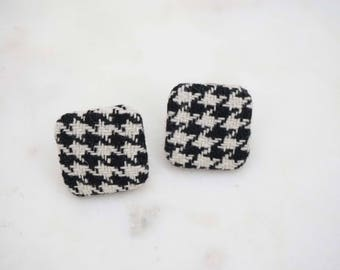 Black and White Square Houndstooth Post Stud Earrings