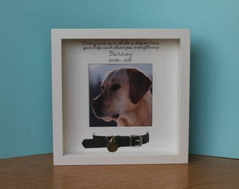 Personalised white photo frame  for pet, dog, cat, memorial, bereavement, remembrance