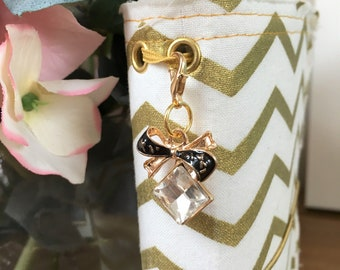 Bow Charm, Diamante, Travellers Notebook Charm- TN