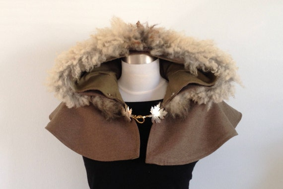 Hooded Capelet with Organic Sheepskin Trim