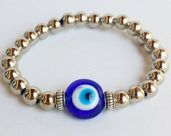 Blue evil eye, protection jewelry, Turkey Nazar Bracelet, Evil Eye Protection, Stretchy Bracelets, stretchy, turkish jewellery, bohemian set