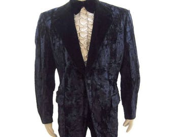 Vintage 70s Tuxedo Jacket Crushed Velvet Black Tux Formal 44 - 46