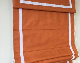 "Flat Roman Shade with valance ""Orange with White border""with chain mechanism, Windows Treatment, Custom Made"