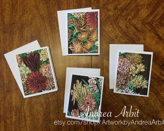 Flower Drawing Prints - Race Bouquet Set - Pack of 4 Blank A2 Notecards