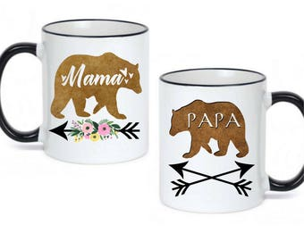Matching Mama Bear / Papa Bear Coffee Mugs  - Dishwasher Safe - Microwave Safe - Mother's Day Mom Gift - Father's Day Dad Gifts - Momma Bear