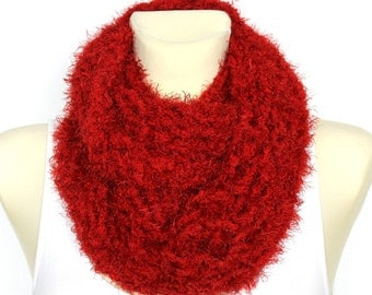 Soft Handknit Snood Knit Chunky Faux Fur Wrap Festival Women Scarf Chunky Knit Scarf Infinity Scarf Knit Cowl Snood Xmas Gift for Women