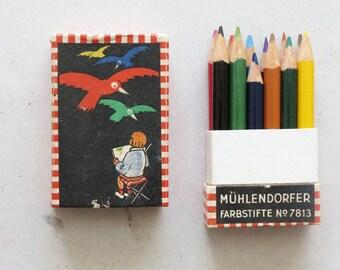 Vintage Set of colored Pencils Crayons Austria Vienna 1940/50s