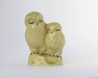 Vintage Pair of Owls Mid-century Ceramic Owl Figurine Glazed