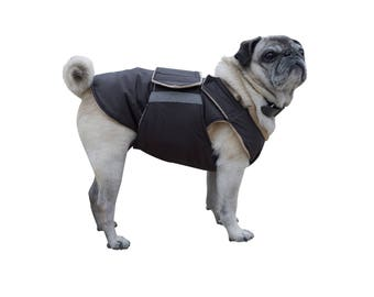 Pug Winter Dog Coat - Dog jacket with underbelly protection - Winter coat - Custom made Dog Raincoat - Custom made for your dog