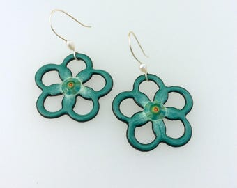 Flower enamel copper earrings with Artisan sterling silver ear wires