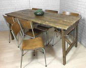 Vintage Industrial Folding Factory Salvaged Rustic Reclaimed Timber Heals Farm Dining Table Mid Century Modern