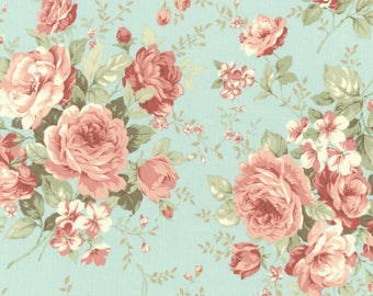 Aqua Bouquet Fabric-Margeaux-Robert Kaufman-Floral Fabric-Cottage Chic Fabric-Rose Fabric-Rose Quilt Fabric-Pink Rose Fabric-Romantic Fabric