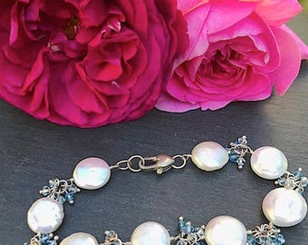 Flat Coin Pearls, Blue Swarovski Crystals, Sterling Silver Bracelet 351 sm