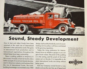 1930 International Truck Vintage Advertisement Antique Truck Wall Art Man Cave Original Magazine Print Ad Standard Oil Company Ephemera