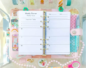 Personal Planner Inserts Weekly Planner Printable Filofax Personal TN WO2 Pages Week on Two Pages Planner Pages. Instant Download