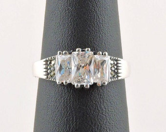 Size 6 Sterling Silver 2cttw Radiant Cubic Zirconia And Marcasite Ring