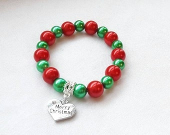 christmas bracelet, xmas jewellery, merry christmas jewelry, stocking fillers, stretch bracelet, gifts for children , christmas eve box