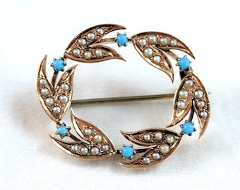 14k rose gold seed pearl and turquoise brooch