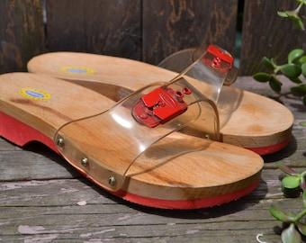 Dr Scholls Red Clear Jelly & Wood Original Exercise Sandal Shoe Slides Size 6