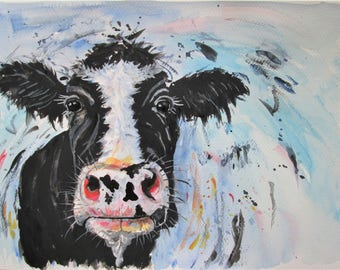 original Frisian cow artwork, farm animal art, black and white cow portrait, cow portrait painting, cow lover present, abstract cow wall art