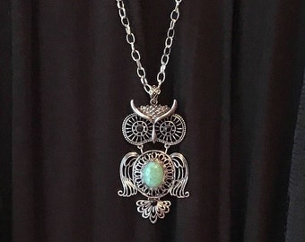 Boho Owl Necklace, Large Owl Pendant, Customized Jewelry, Bursting Barns Designs