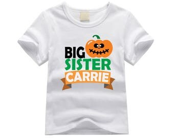 Personalized big sister shirt. Big sister pumpkin shirt. Halloween big sister shirt. Big sister announcement. Big sister jack-o-lantern