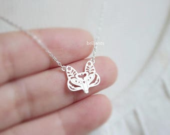 Fox necklace, Animal necklace, Personalized necklace, Everyday necklace, Wedding necklace, Bridesmaid necklace, Gift, Mothers day gift