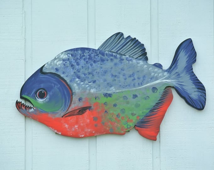 Gift for him, Red Bellied Piranha Wildlife art, Coastal Wood sign, Wall Hanging Decorative Fish, Fisherman Valentines gift, Man Cave decor