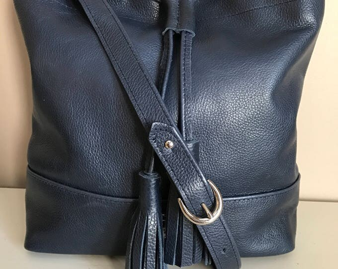 Dark Navy Leather Medium Drawstring Bucket Bag
