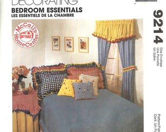 McCalls 9214 Home Decorating Sewing Pattern Bedroom Essentials Drapes Tabletoppers Tablecloth Valance Duver Cover Shams Pillows Uncut