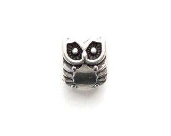 x 10 pearls OWL silver metal 10 x 8 mm