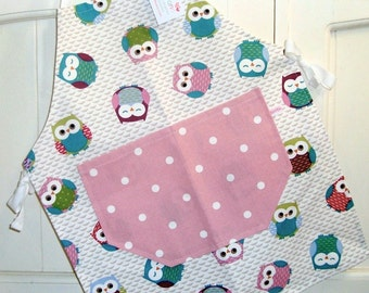 Child's Apron, Child's Pink Owls Apron, Child's Full Apron, Adjustable Owls Apron, Mother and Daughter Gift, Baking, Pink Dotty, Apron