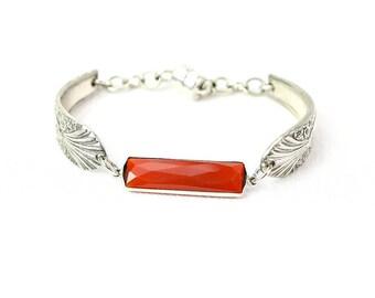 Women Jewelry Spiritual Jewelry, Protection Bracelet Carnelian Bracelet, Chakra Bracelet Healing Stone Bracelet,Silverware Spoon Jewelry