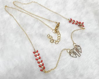Gold red origami Elephant necklace