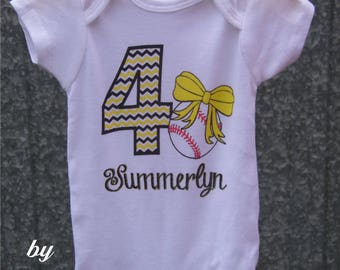 "Personalized Baby Girl's Baseball Onesie with ""Chevron"" Number, Name, and Print Color of your choice"