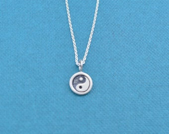 """Girl's, teen's or women's ying and yang necklace in sterling silver on a 16"""" sterling silver rolo  chain. Ying Yang.  Ying Yang necklace."""