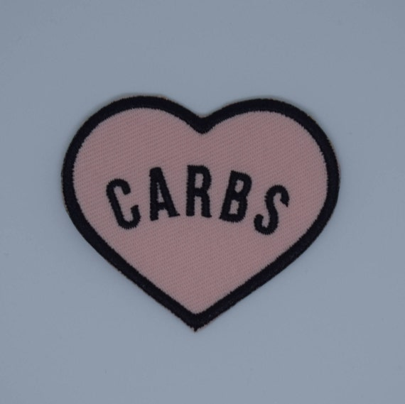 "Peach ""Carbs"" Heart Iron on Patch"