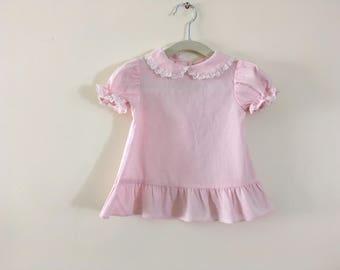 Vintage Light Pink Swiss Dot Baby Dress -  Size 9-12 m