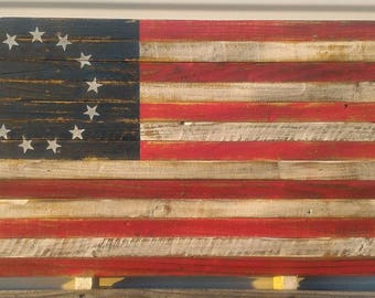 Betsy Ross Flag, Pallet Flag, Rustic Flag, Wall Hanging, Home Decor, Traditional Colors - various sizes - MADE TO ORDER